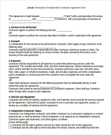 Sample Independent Contractor Agreement Form   Examples In Word