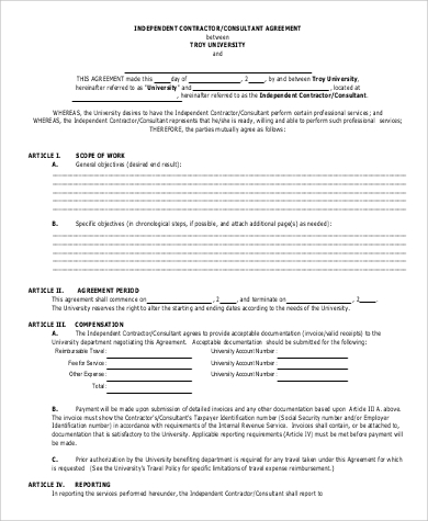 independent contractor consultant agreement form