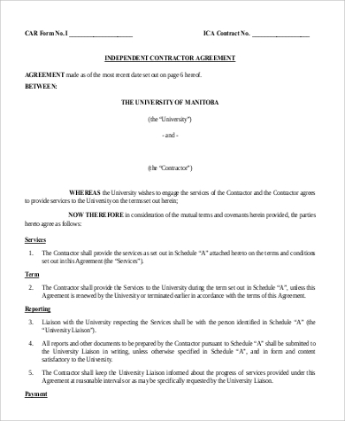 Sample Independent Contractor Agreement Form   Examples In Word Pdf