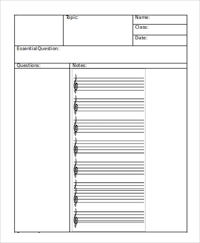 Sample Cornell Note Template In Word   Examples In Word Pdf