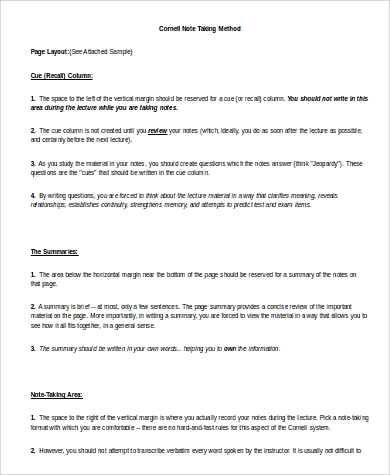 Amazing Sample Cornell Note Images  Best Resume Examples For Your