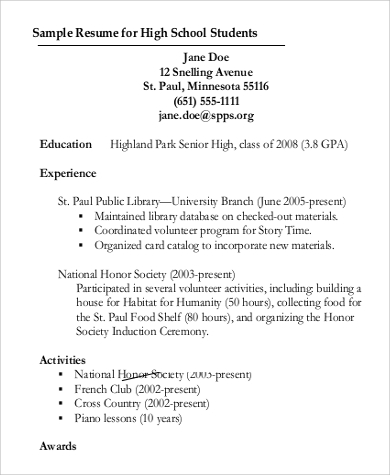 high school student resume for college