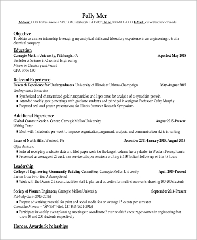 resume for college student internship