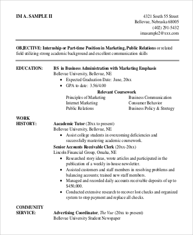 resume objective for college student