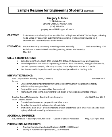 engineering college student resume example