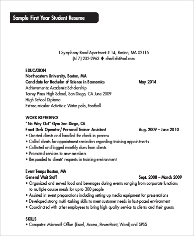 sample first college student resume