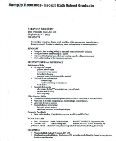 recent high school graduate resume in pdf - Sample Resume For High School Graduate