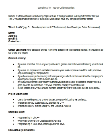 fresher college student resume in word