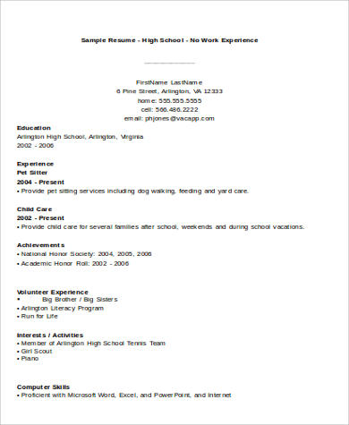 high school no experience resume