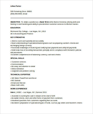 bank teller resume samples with no experience
