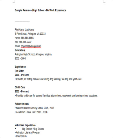 Sample High School Graduate Resume   Examples In Word Pdf