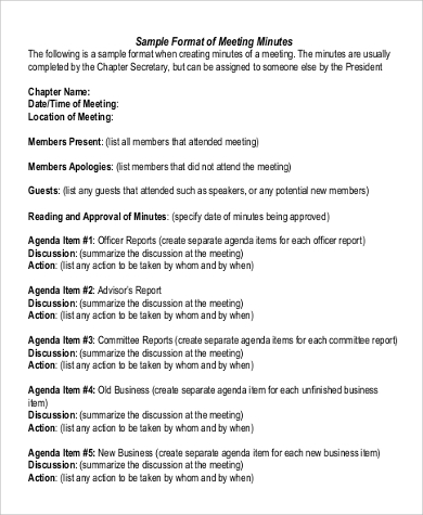 Sample Meeting Minute   Examples In Word Pdf