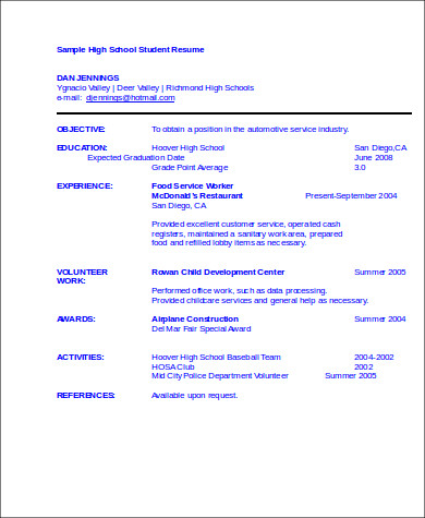 High School Resume Example  Resume Examples And Free Resume Builder