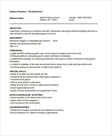 hostess no work experience resume