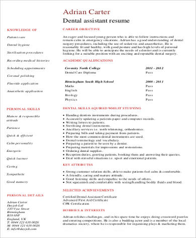 dental assistant no work experience resume