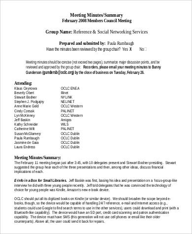 meeting summary minutes printable