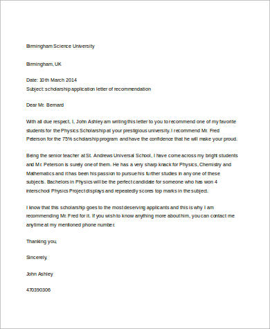 example letters of recommendation for students sample letter of recommendation for a student 8 14732