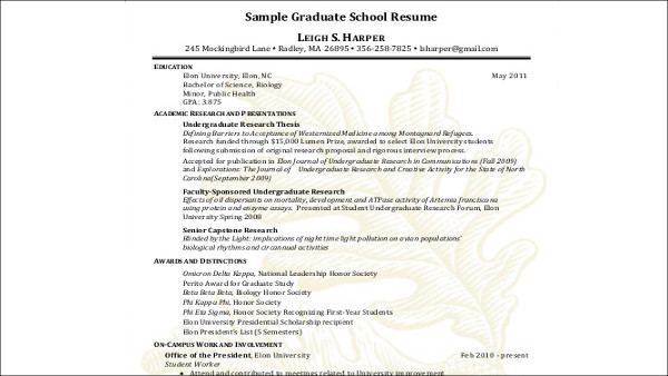 Free 8 Sample High School Graduate Resume Templates In Ms Word Pdf