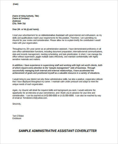 resume cover letter example for administrative assistant