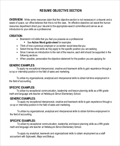 objective on resume for section