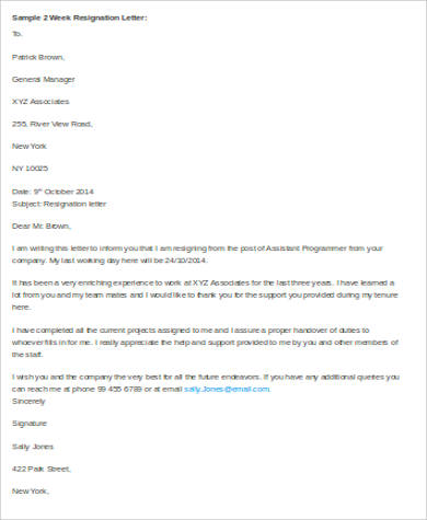 Sample Professional Resignation Letter - 6+ Examples In Word, Pdf