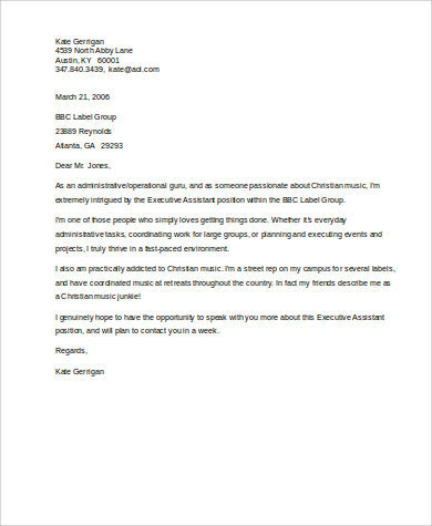Free 6 Sample Executive Assistant Cover Letter Templates
