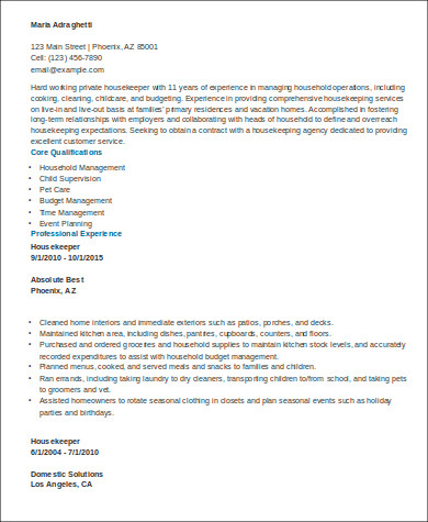 housekeeper resume sles sle resume executive housekeeper