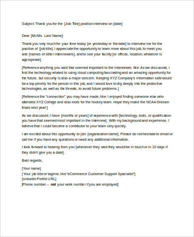 thank you note for interview format