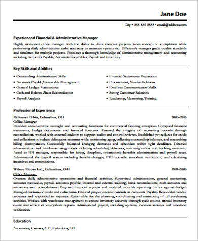 office manager resume in pdf