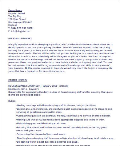 housekeeper supervisor resume