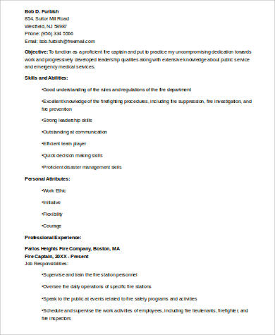 Free 8 Sample Firefighter Resume Templates In Ms Word Pdf