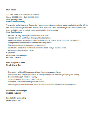 Sample Housekeeper Resume  8