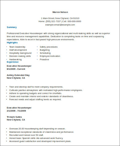 Sample Executive Housekeeper Resume  Housekeeper Resume