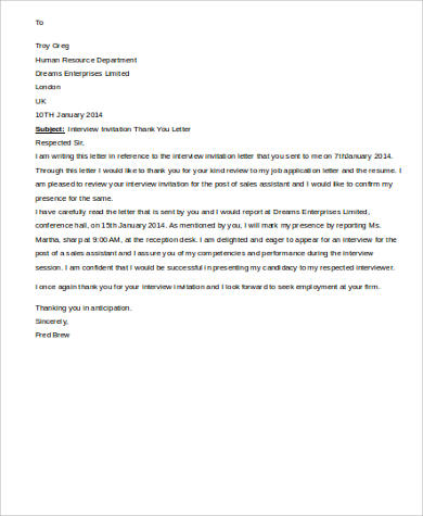 Sample thank you letter for job interview 9 examples in word pdf interview invitation thank you letter stopboris Image collections