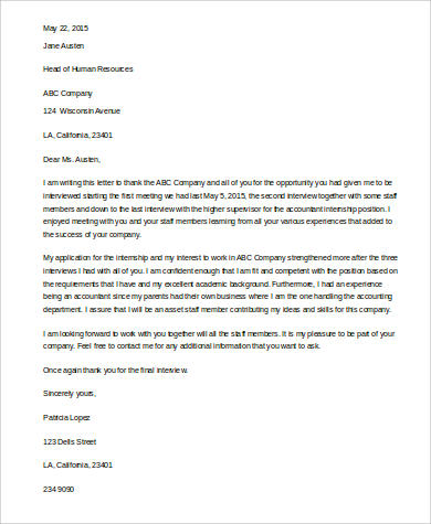 Sample ThankYou Letter For Job Interview   Examples In Word Pdf