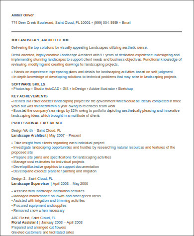 sample landscape architecture resume