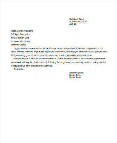 thank you letter for job interview rejection