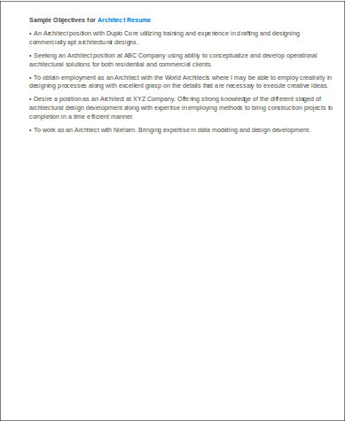 architecture objectives resume