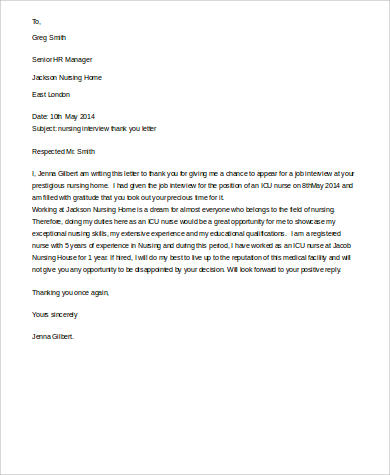 Sample Thank You Letter For Job Interview