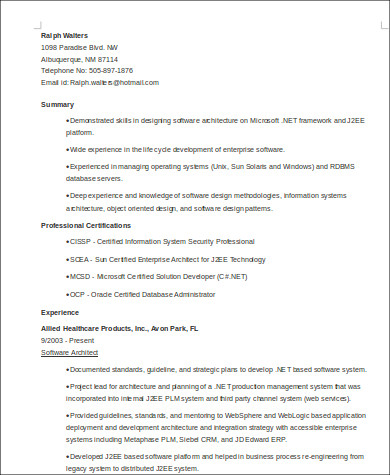software architecture resume format