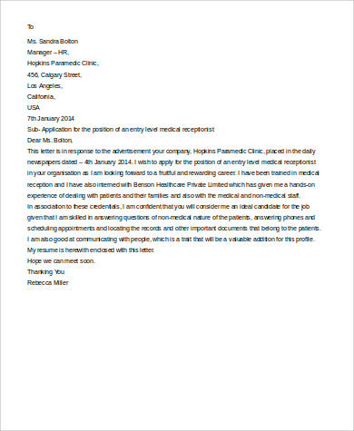entry level medical receptionist cover letter