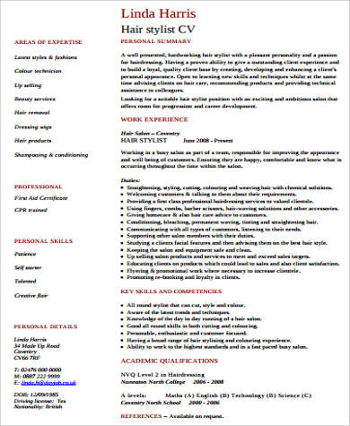 hair stylist resume pdf