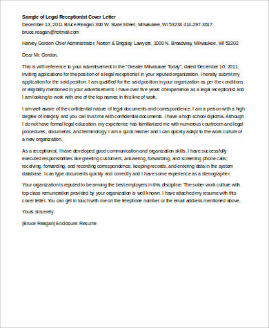legal receptionist cover letter