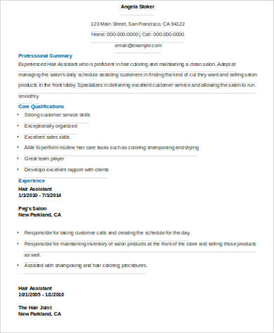 Sample Hair Stylist Resume   Examples In Word Pdf