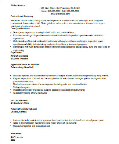Sample Mechanic Resume 9 Examples In Word Pdf
