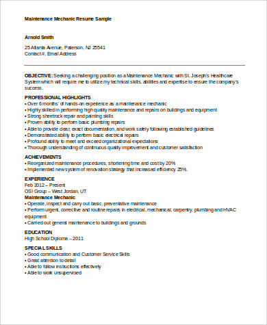sle mechanic resume 9 exles in word pdf