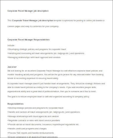 Travel Agent Job Description Sample - 9+ Examples In Word, Pdf