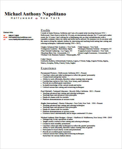 Free 7 Sample Hair Stylist Resume Templates In Ms Word Pdf