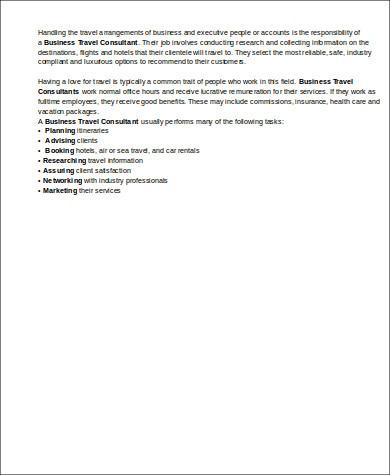 business travel consultant job description