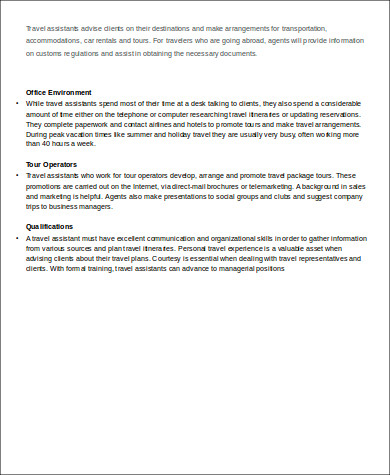 Travel Agent Job Description Sample   Examples In Word Pdf